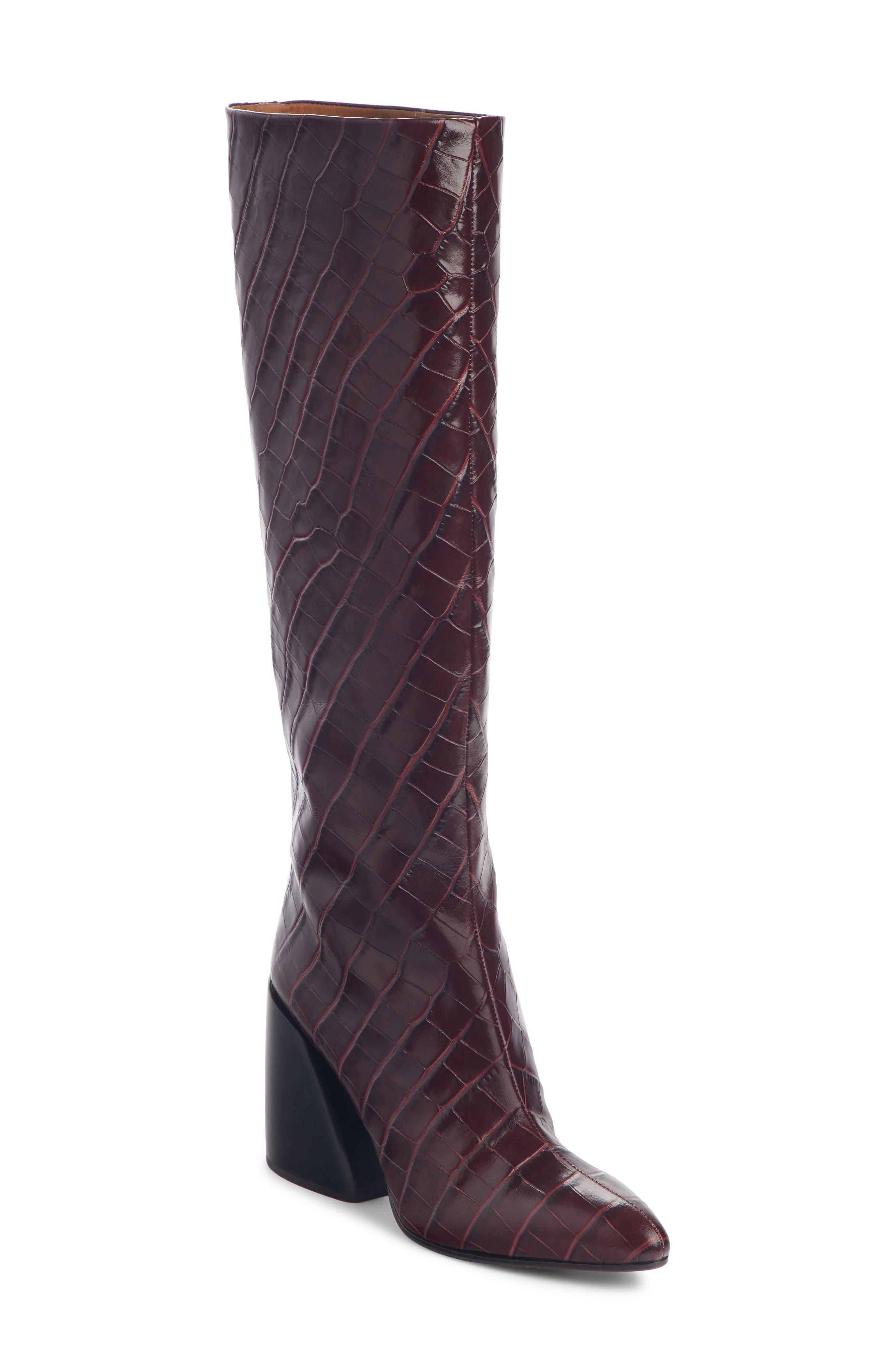 Chloe Wave Croc Embossed Knee High Boot - Purple