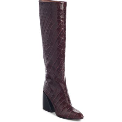 Chloe Wave Croc Embossed Knee High Boot - Purple