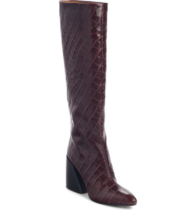 CHLOÉ Wave Croc Embossed Knee High Boot, Main, color, DEEP PURPLE