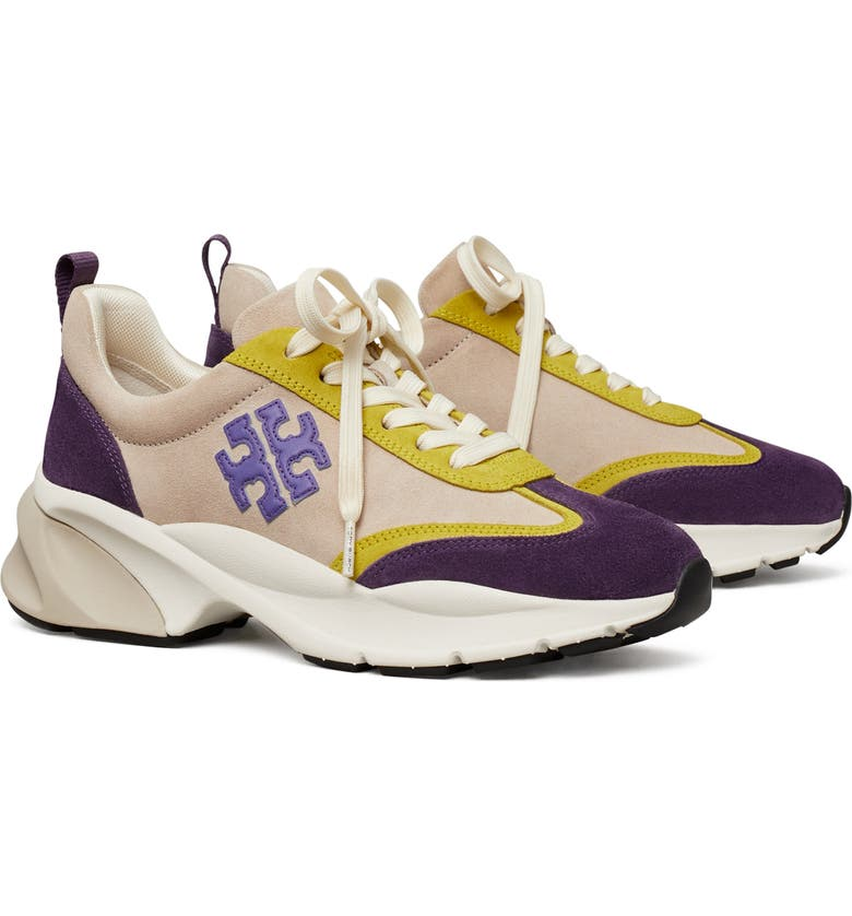 TORY BURCH Good Luck Trainer Sneaker, Main, color, NEW CREAM / PURPLE / PURPLE