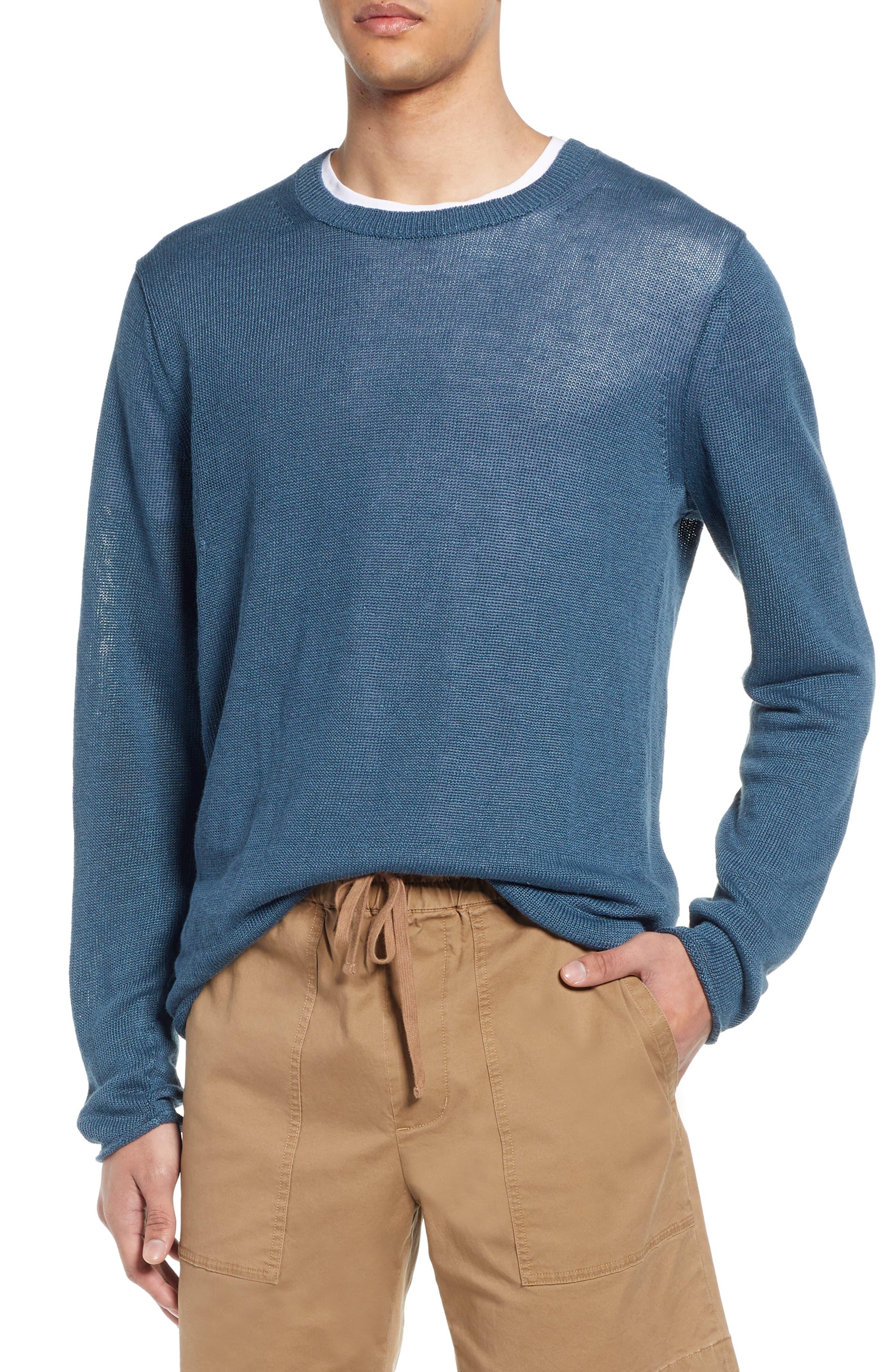 Crewneck Linen Sweater, Main, color, MARIN