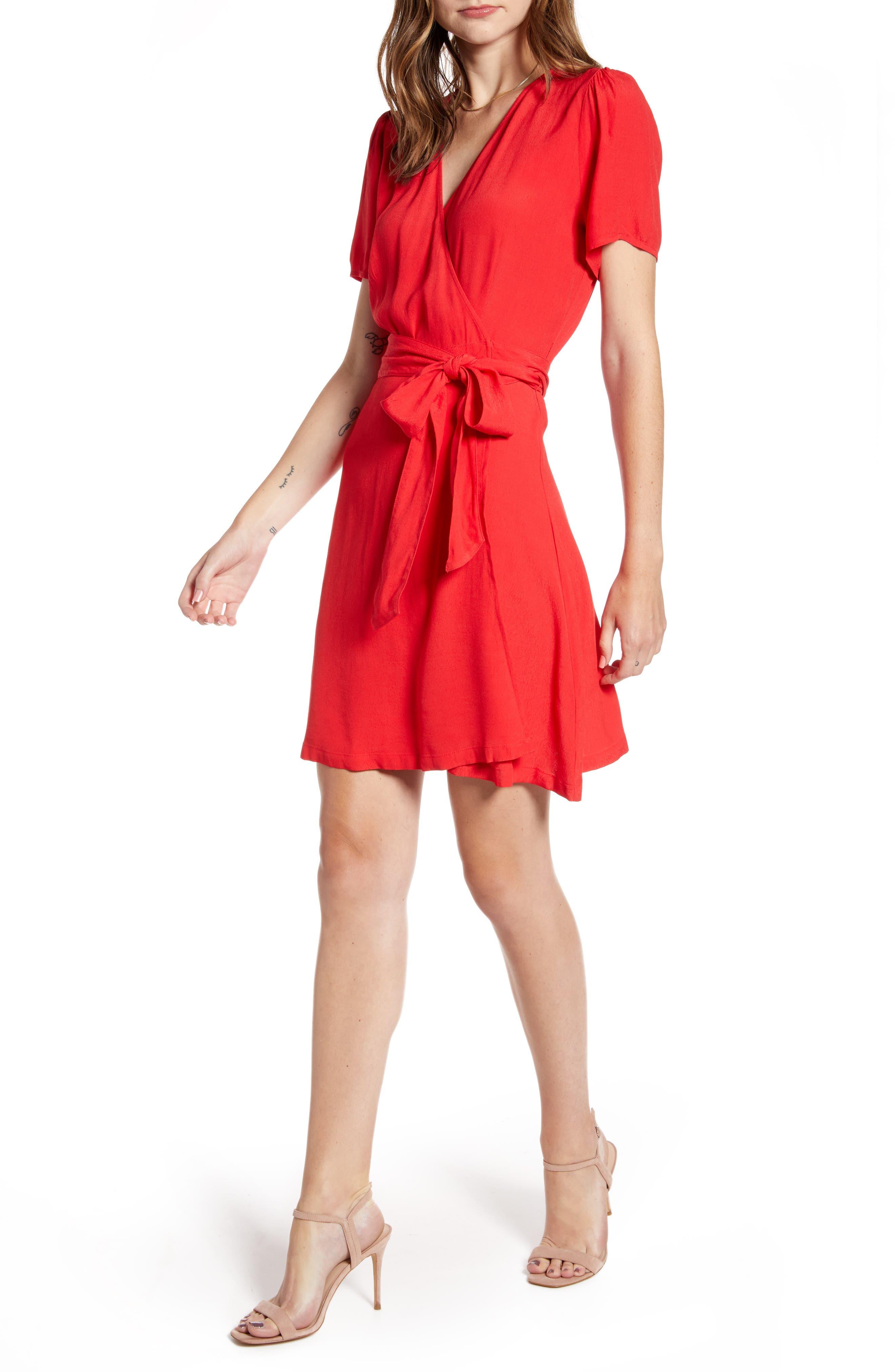 Chelsea28 Print Wrap Minidress, Red