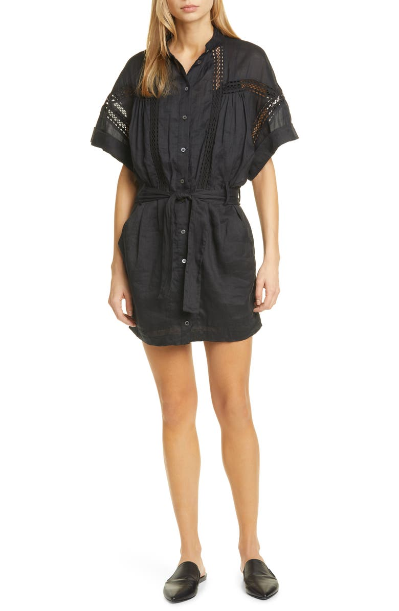 FRAME Short Sleeve Shirtdress, Main, color, 001