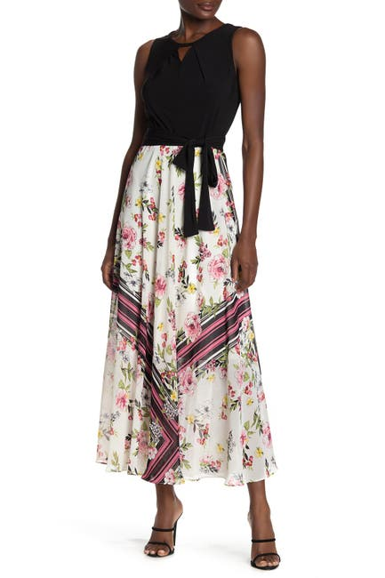 Image of Sandra Darren Floral & Colorblock Print Maxi Dress