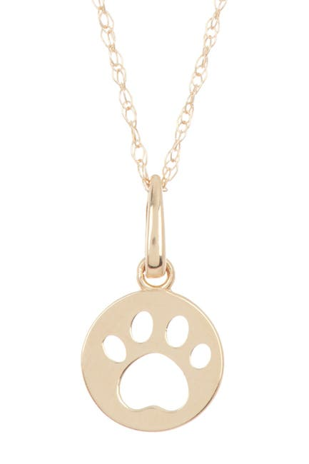 Image of Candela 14K Yellow Gold Paw Print Disc Pendant Necklace