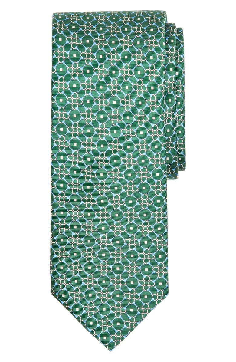BROOKS BROTHERS Geometric Rings Silk Tie, Main, color, GREEN