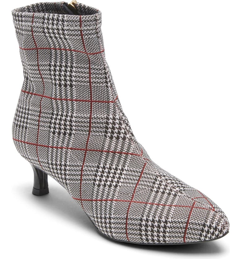 ROCKPORT Total Motion Alaiya Bootie, Main, color, BLACK PLAID FABRIC