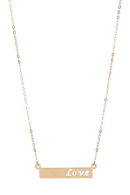 Image of Candela 10K Yellow Gold Bar Love Necklace