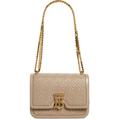 Burberry Small Tb Quilted Monogram Lambskin Bag - Beige