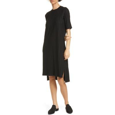 Eileen Fisher Texture Stripe T-Shirt Dress, Black