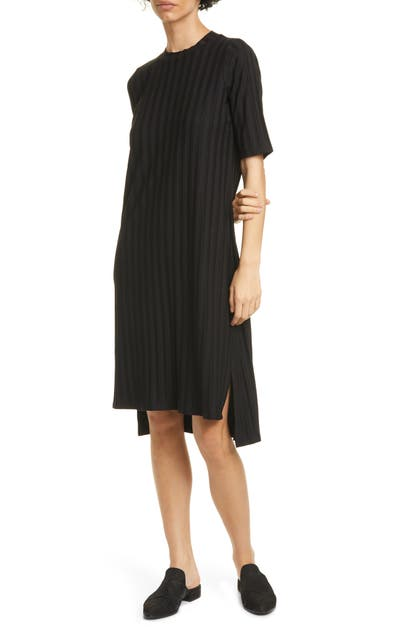 Eileen Fisher TEXTURE STRIPE T-SHIRT DRESS