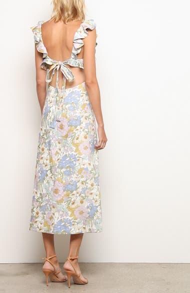 Super Eight Floral Ruffle Linen Midi Dress, video thumbnail