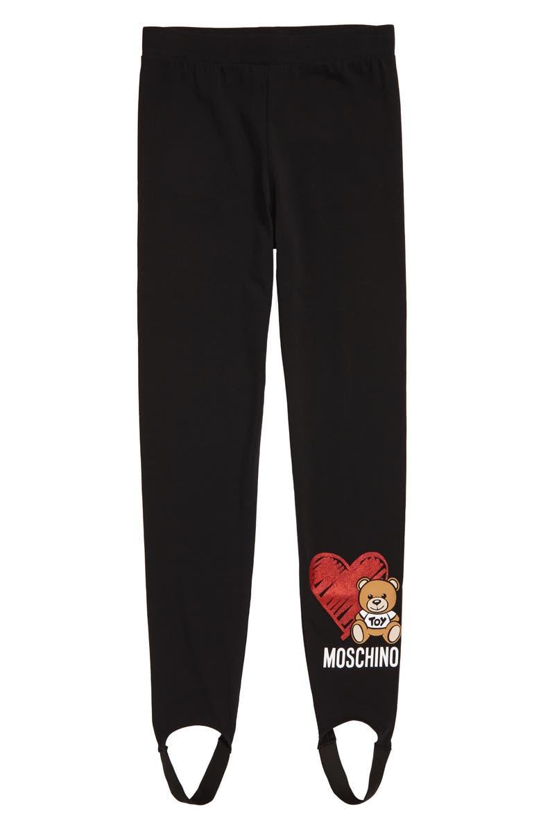 MOSCHINO Stirrup Leggings, Main, color, 001
