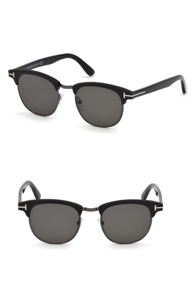 TOM FORD Laurent 51mm Polarized Sunglasses, Main, color, MATTE BLACK / SMOKE