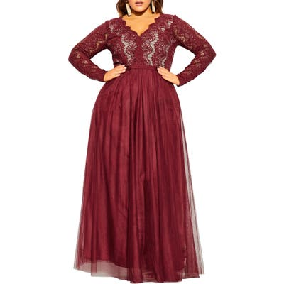 Plus Size City Chic Rare Beauty Maxi Dress, Red