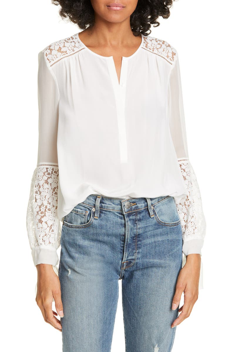 REBECCA TAYLOR Stella Blouse, Main, color, SNOW