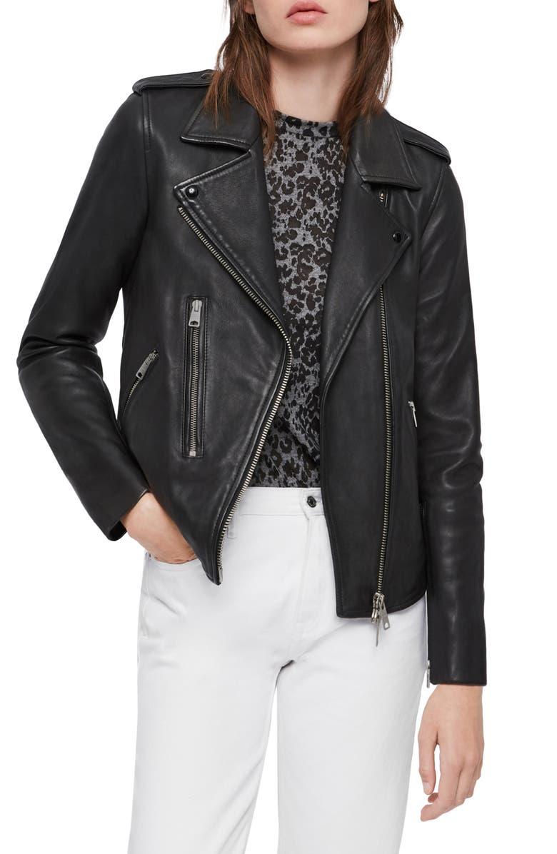 ALLSAINTS Elva Leather Moto Jacket, Main, color, 001