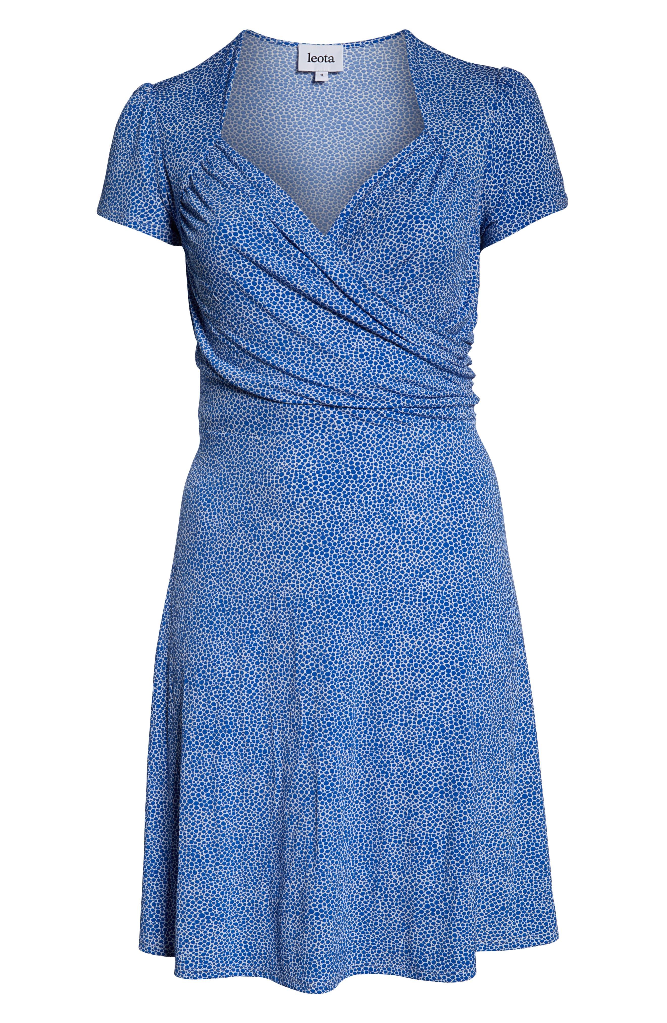 ,                             Faux Wrap Jersey Dress,                             Alternate thumbnail 7, color,                             NEBULAS BLUE