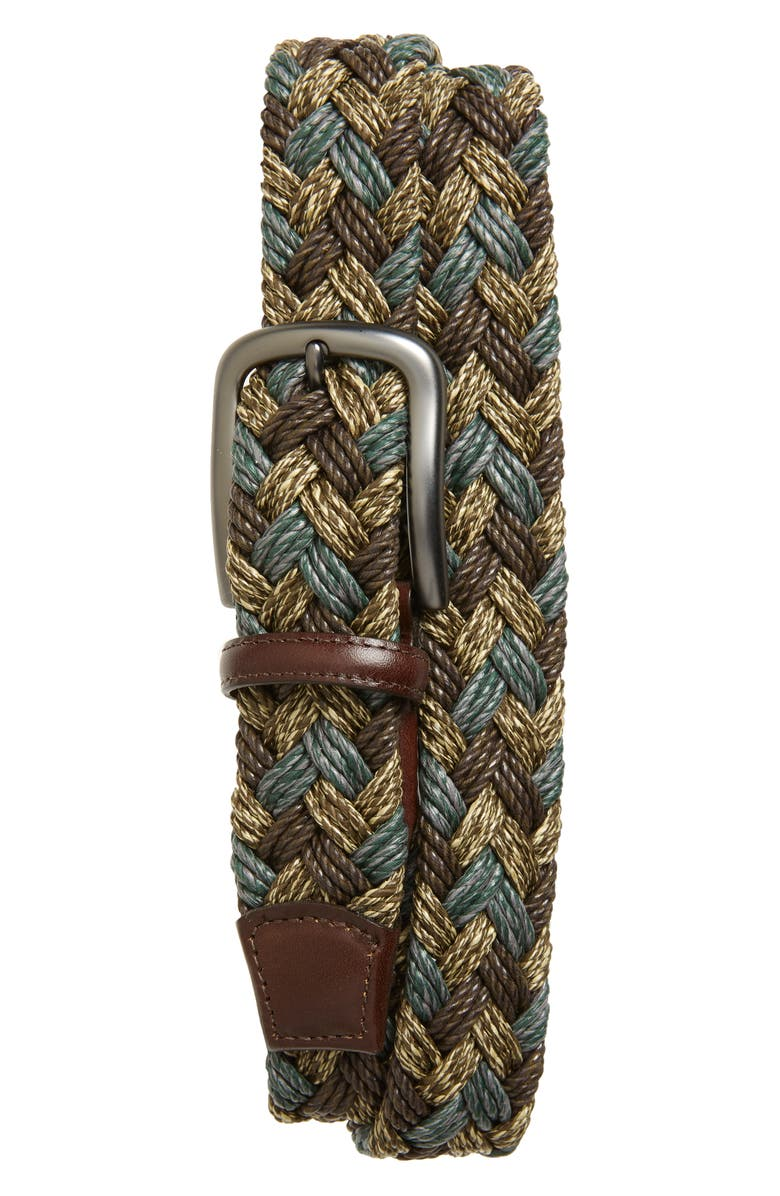 TORINO Braided Cotton Belt, Main, color, BROWN/ TAUPE