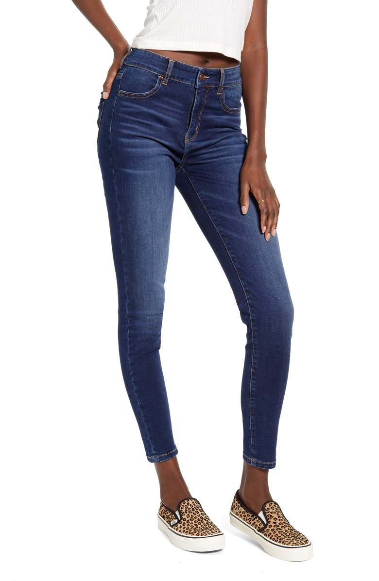 BP. High Waist Ankle Skinny Jeans, Main, color, DARK WASH