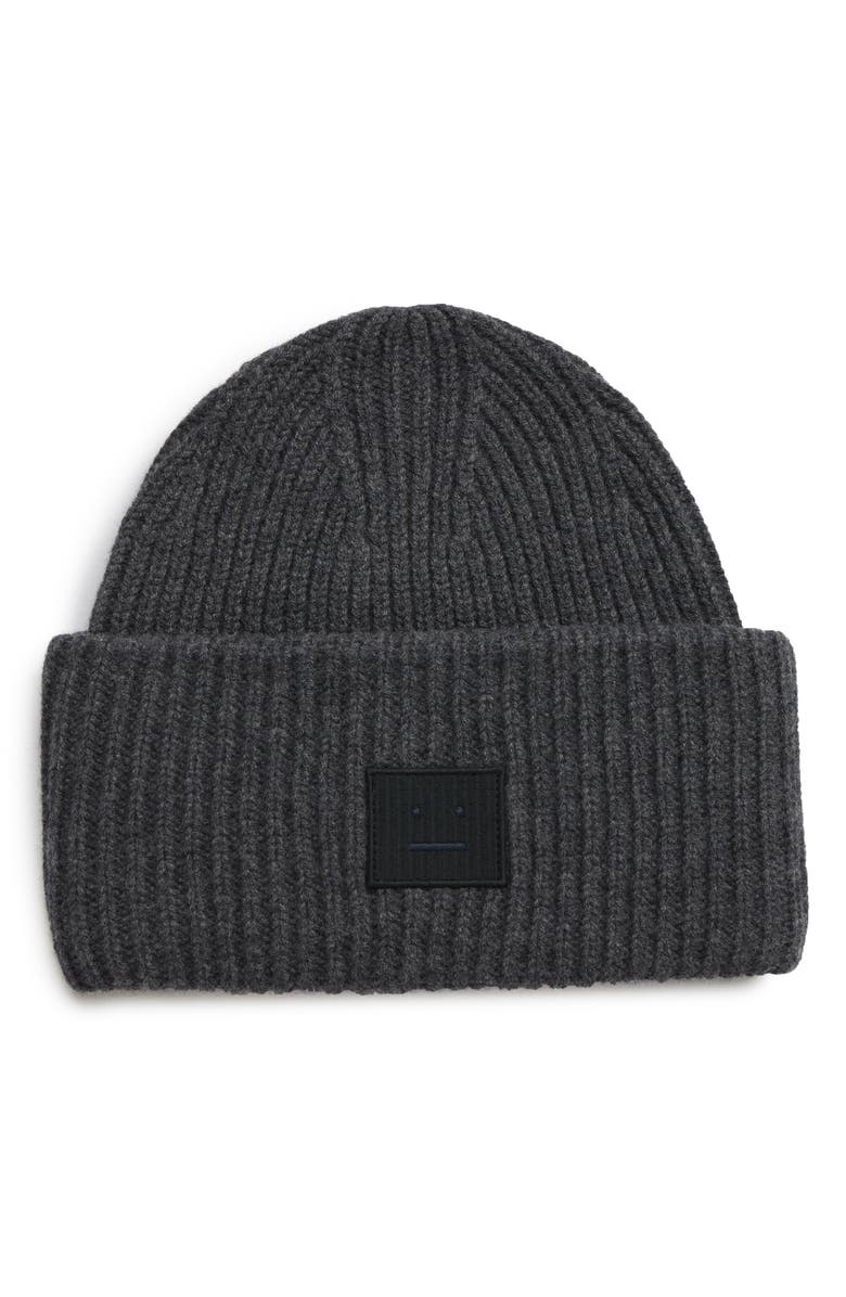 ACNE STUDIOS Pansy Rib Knit Beanie, Main, color, DARK GREY MELANGE
