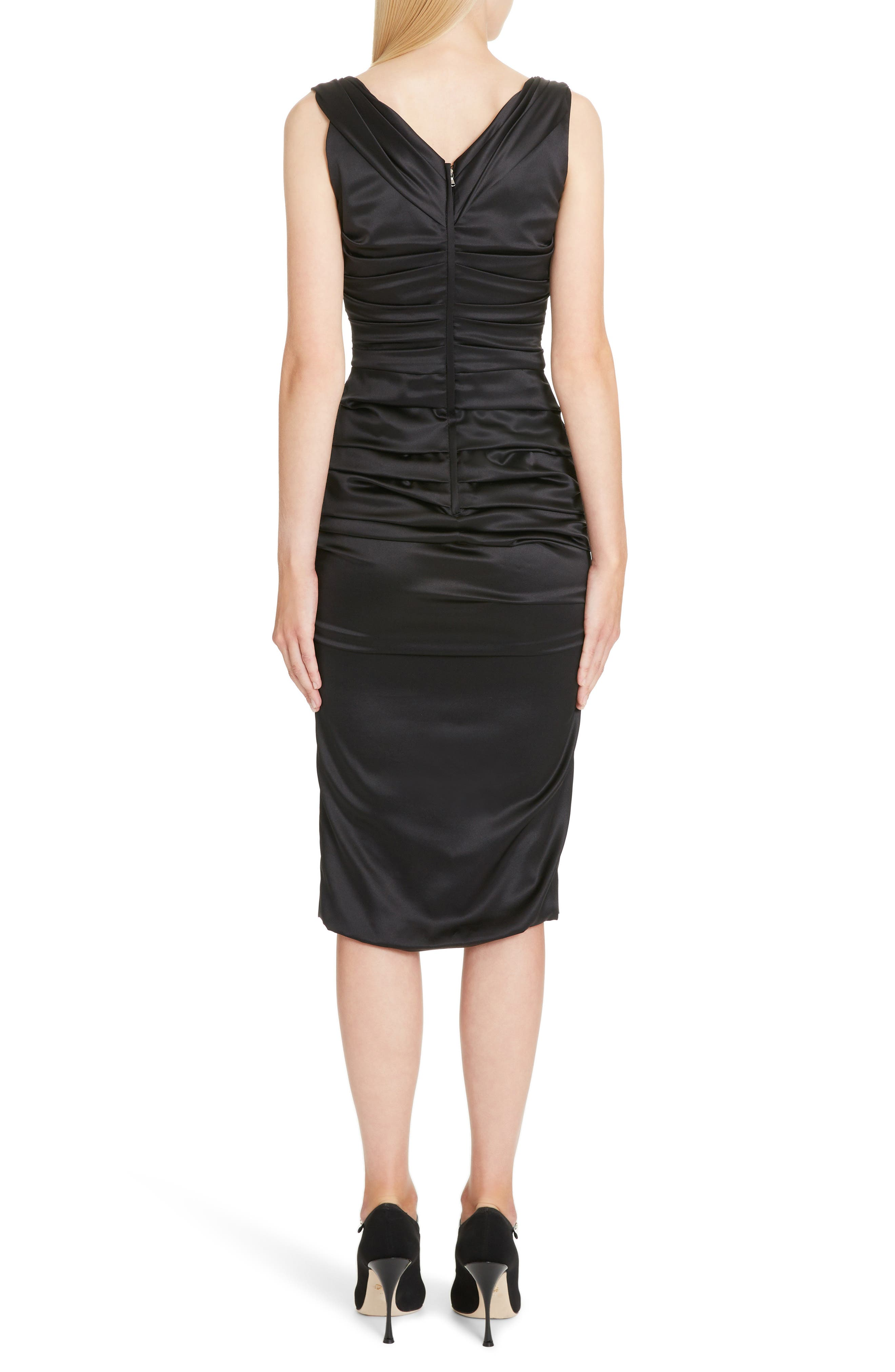 ,                             Ruched Stretch Silk Satin Body-Con Dress,                             Alternate thumbnail 2, color,                             BLACK