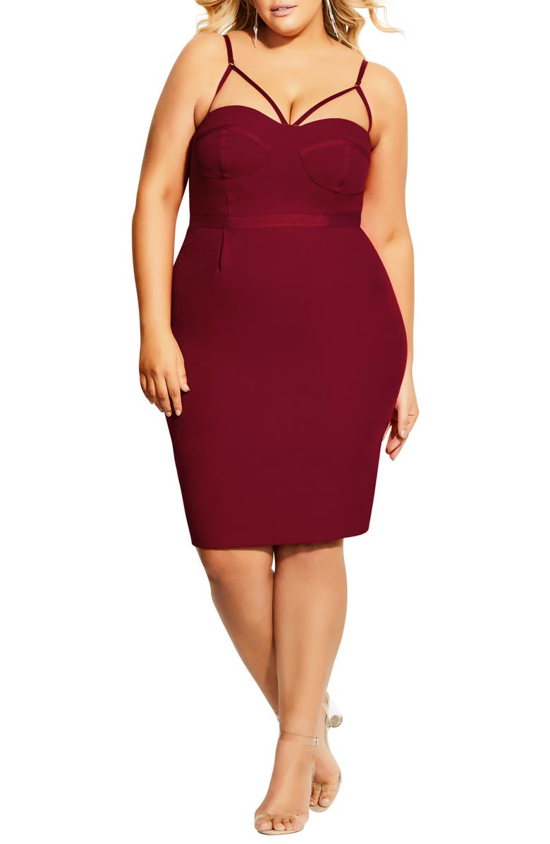 CITY CHIC Undress Me Strappy Sheath Dress, Main, color, AMORE RED