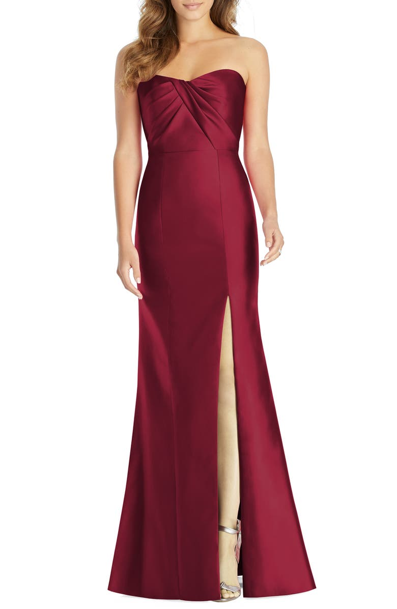 ALFRED SUNG Sateen Twill Strapless Sweetheart Neckline Gown, Main, color, BURGUNDY