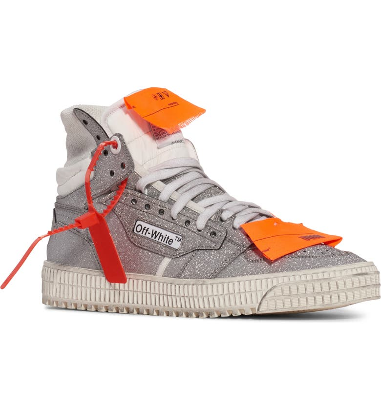 OFF-WHITE Off Court 3.0 Glitter High Top Sneaker, Main, color, SILVER