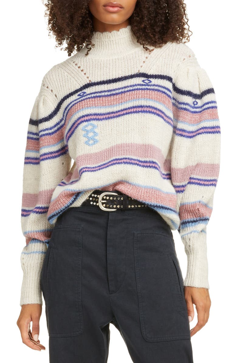 ISABEL MARANT ÉTOILE Georgie Stripe Balloon Sleeve Sweater, Main, color, PINK/ BLUE