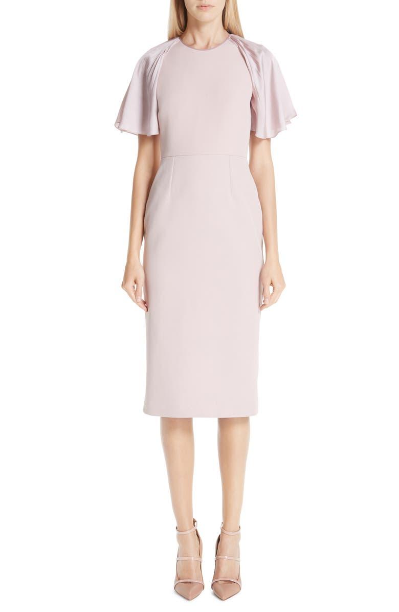 ROKSANDA Satin Flutter Sleeve Sheath Dress, Main, color, 650