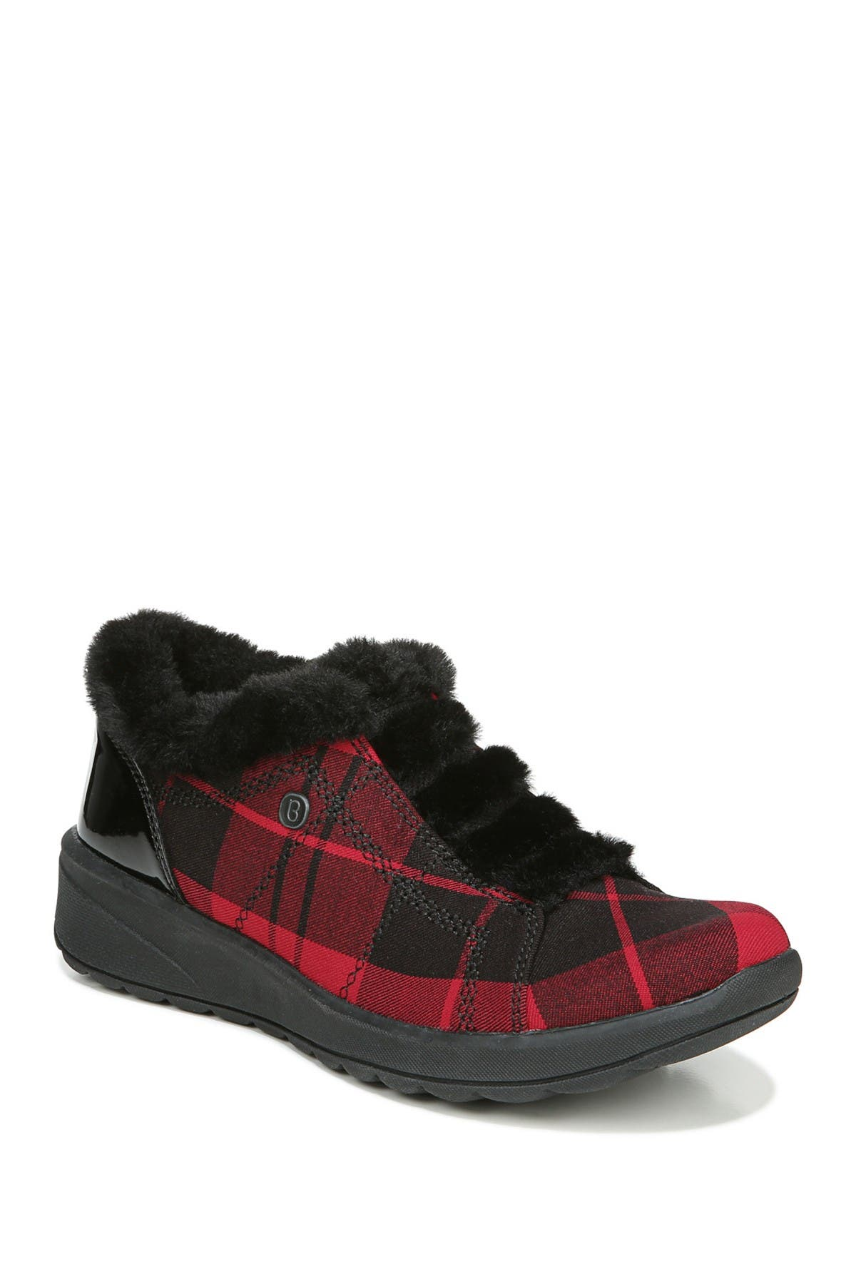 Image of BZEES DO NOT SELL Golden Plaid Faux Fur Trim Wedge Slip-On Bootie
