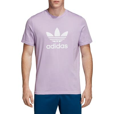 Adidas Originals Trefoil Graphic T-Shirt, Purple