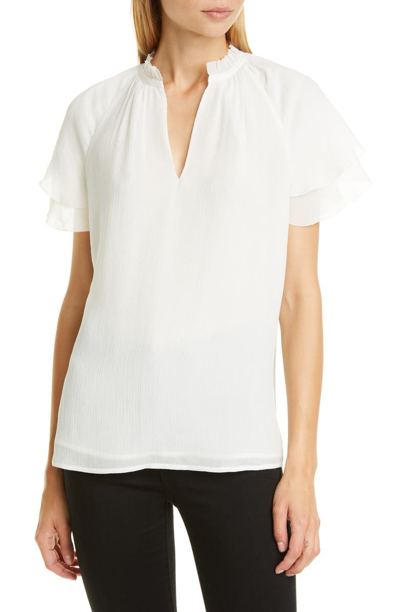 Split Neck Silk Top by Nordstrom Signature