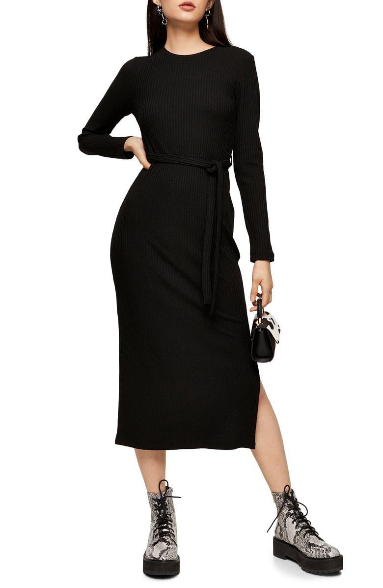 Long Sleeve Midi Sweater Dress by Topshop
