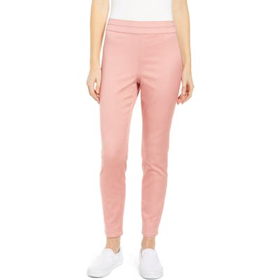 Tinsel High Waist Sateen Ankle Leggings, Pink