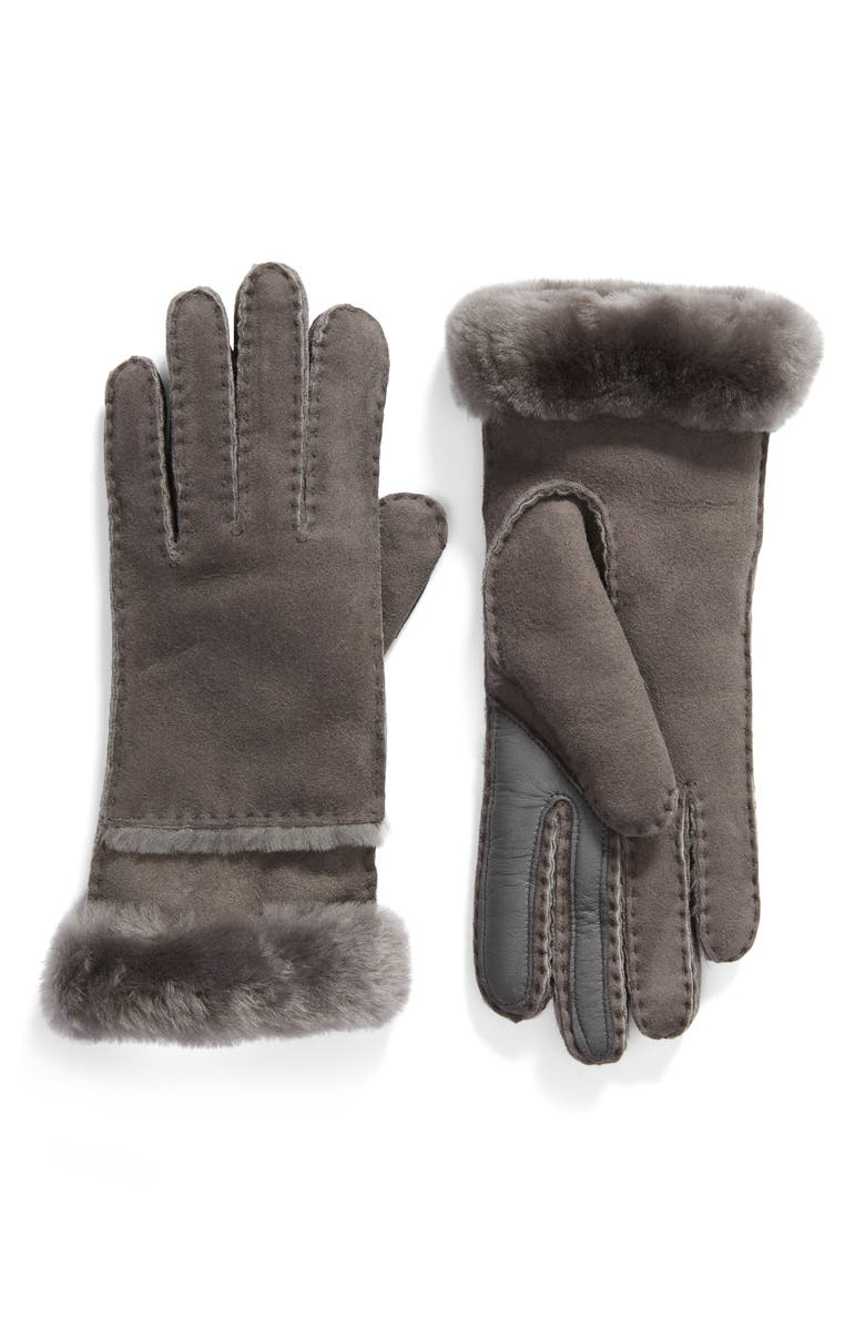 UGG<SUP>®</SUP> Seamed Touchscreen Compatible Genuine Shearling Lined Gloves, Main, color, CHARCOAL