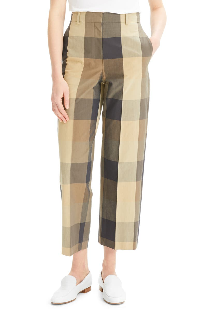 THEORY Check Cotton & Silk Straight Crop Trousers, Main, color, MULTI