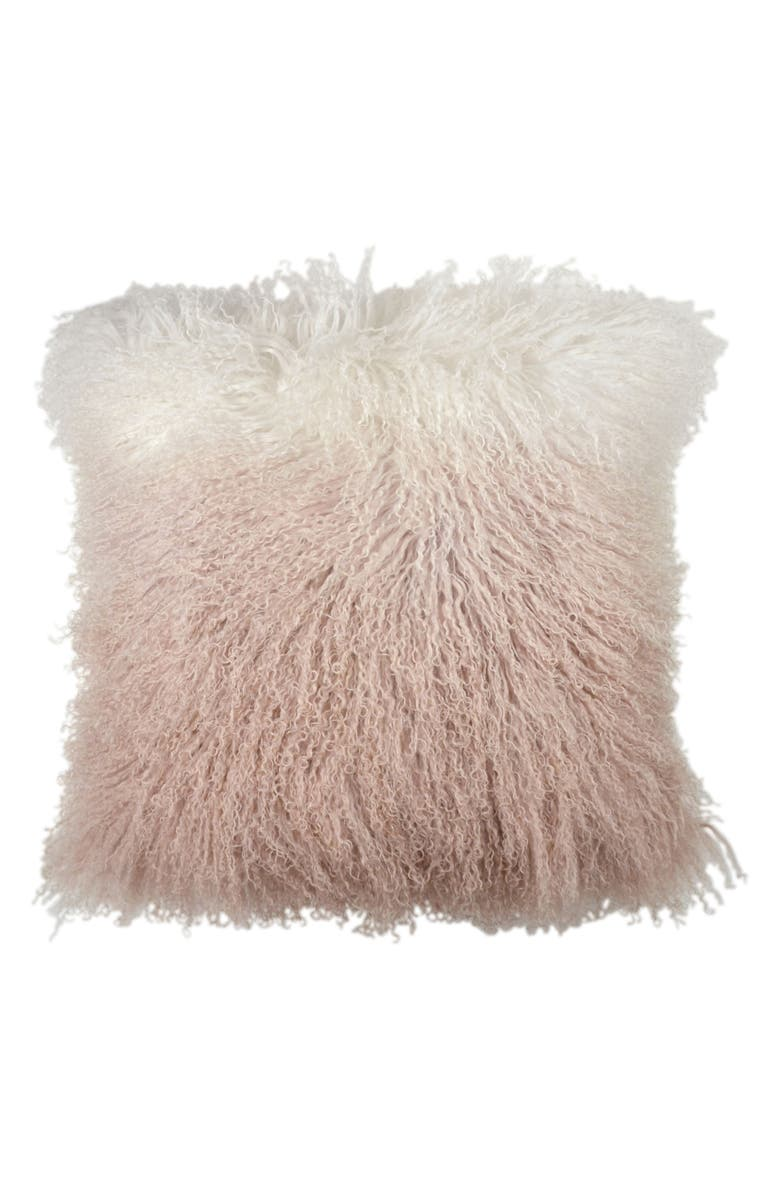 MICHAEL ARAM Dip Dye Sheepskin Accent Pillow, Main, color, BLUSH
