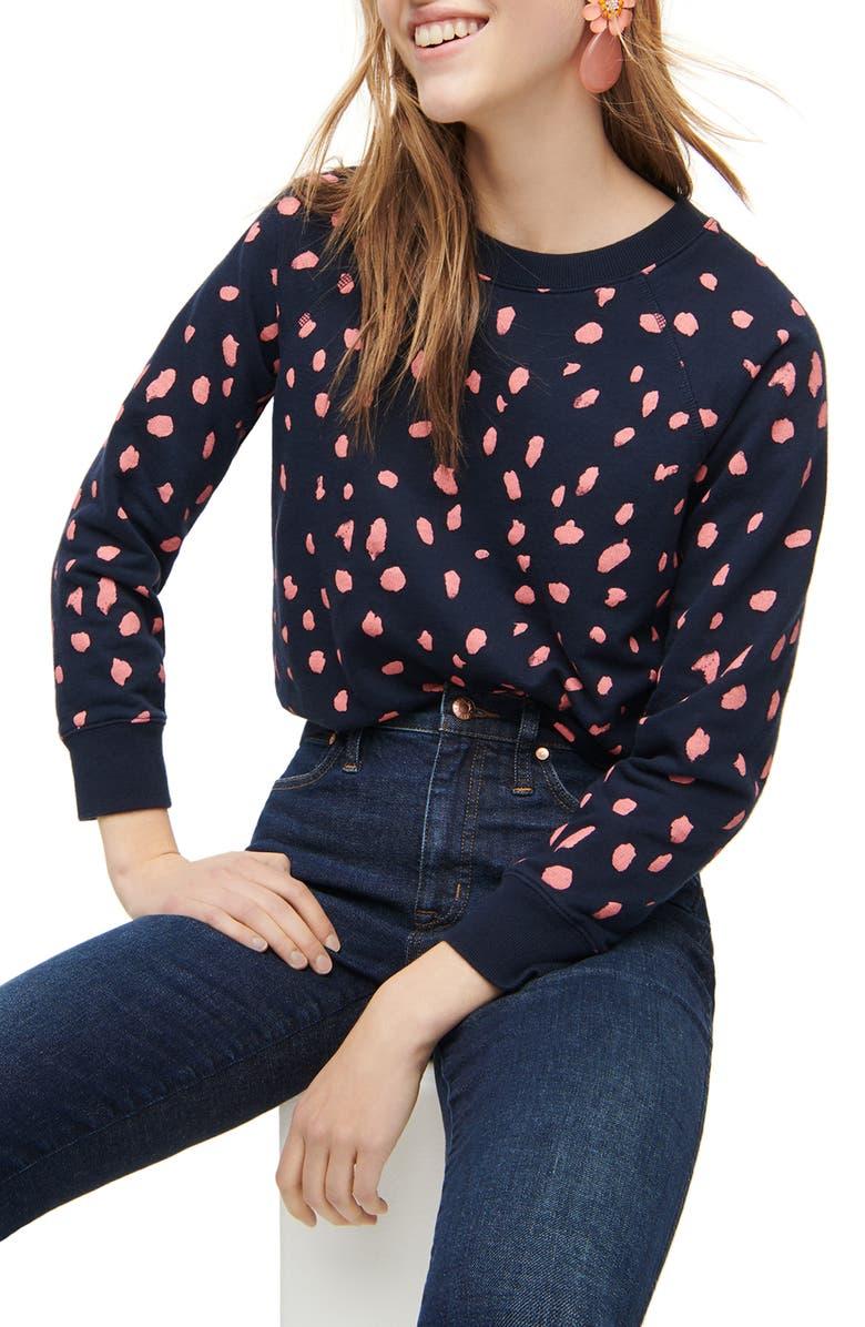 J.CREW Painter's Leopard Cotton Terry Sweatshirt, Main, color, NAVY