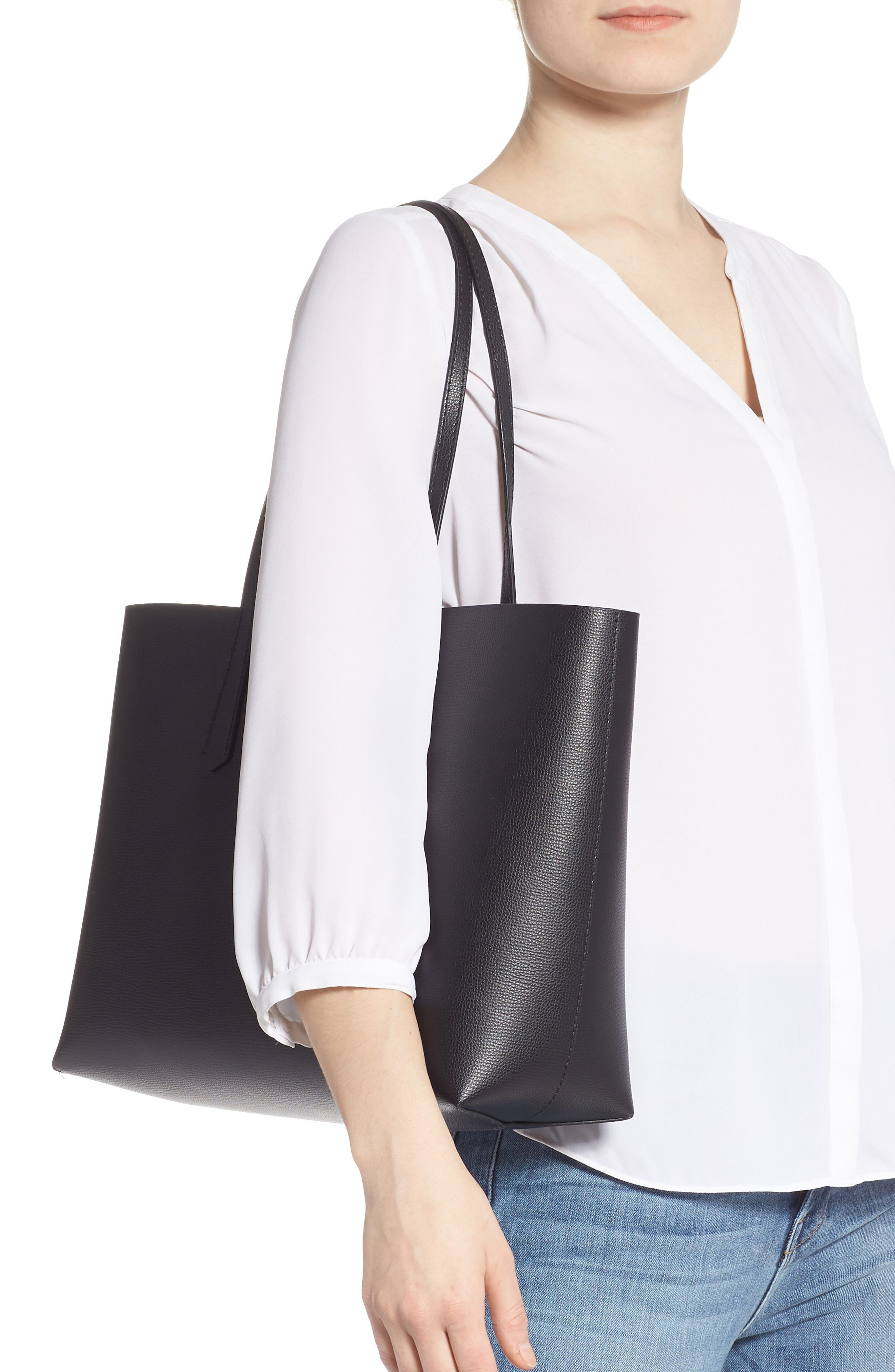 ,                             large molly leather tote,                             Alternate thumbnail 2, color,                             BLACK