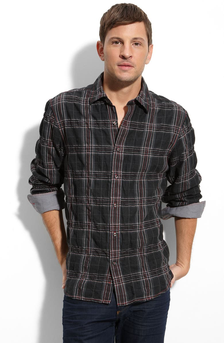 JAMES CAMPBELL J. Campbell Crinkled Plaid Shirt, Main, color, 001