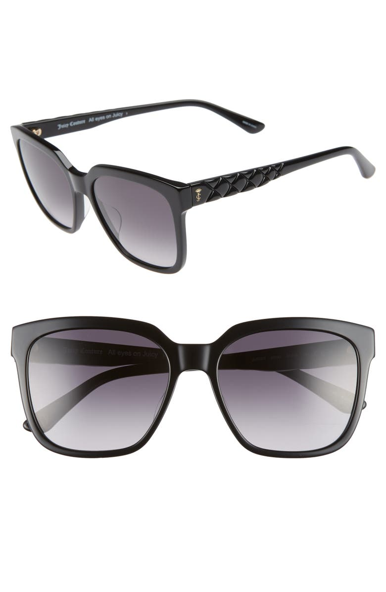 JUICY COUTURE Core 55mm Square Sunglasses, Main, color, GREY SPOTTED