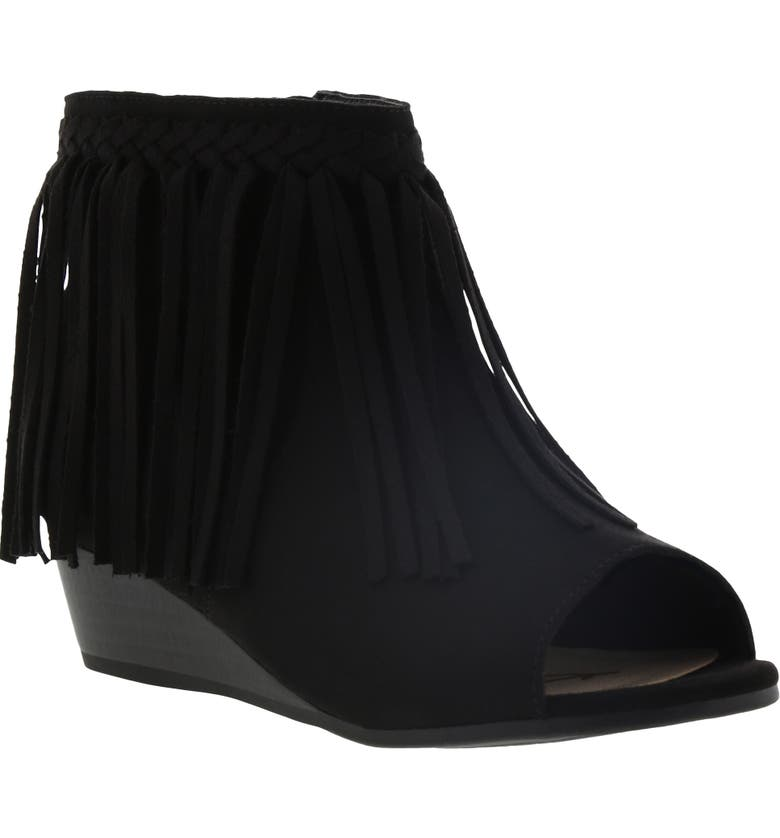 SAM EDELMAN Kelley Fringe Peep Toe Bootie, Main, color, BLACK