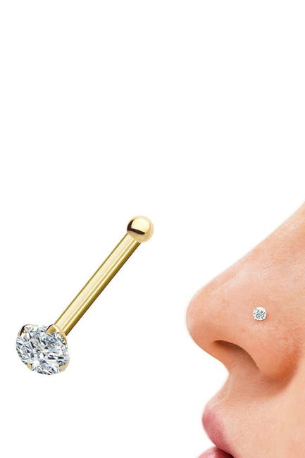Image of Best Silver Inc. 14K Yellow Gold CZ Nose Stud