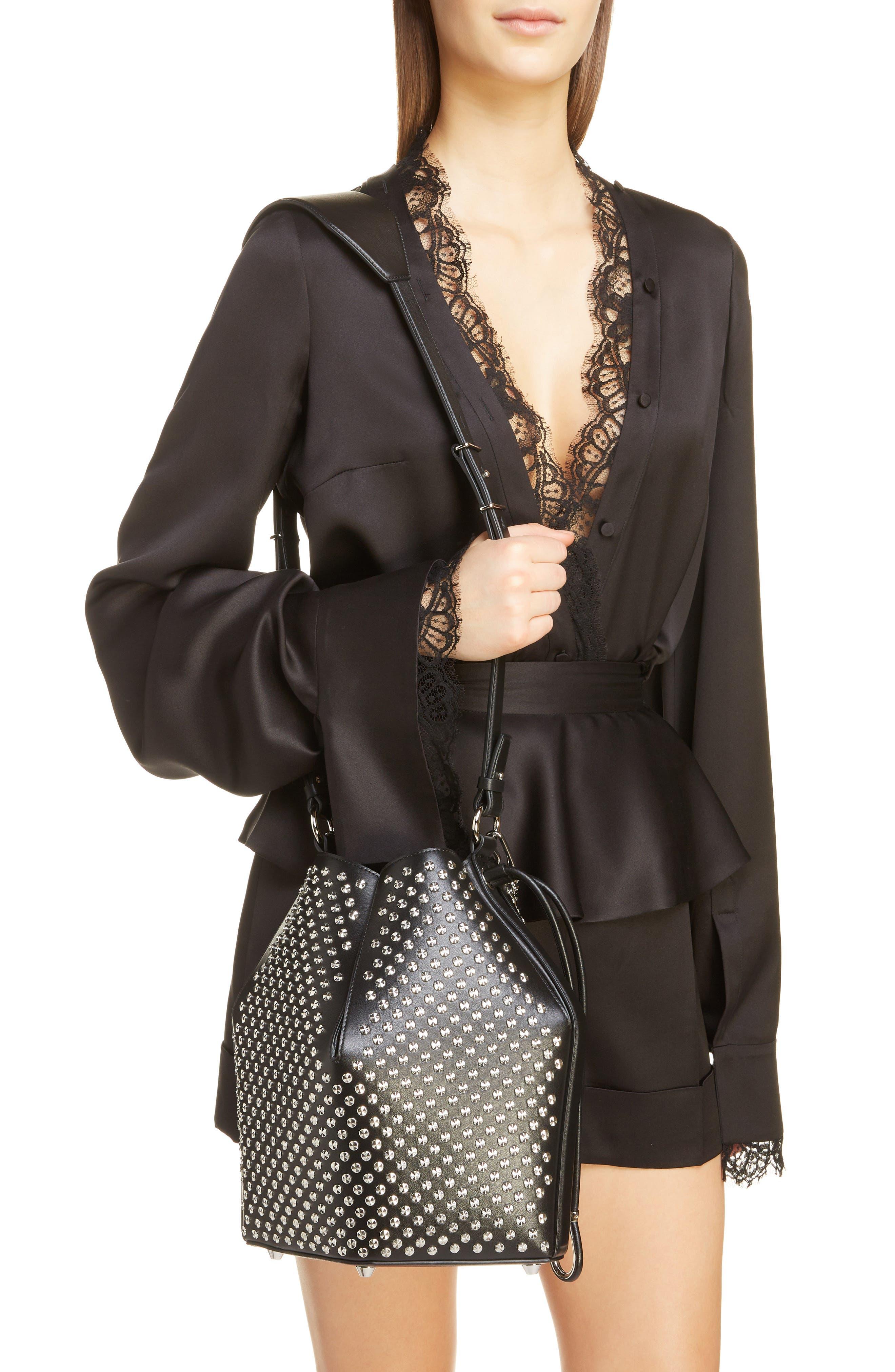 ,                             Studded Leather Bucket Bag,                             Alternate thumbnail 2, color,                             BLACK