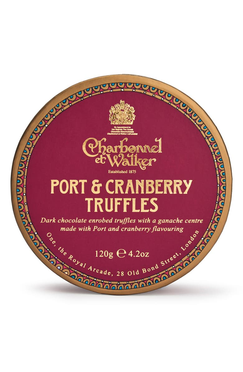 CHARBONNEL ET WALKER Port & Cranberry Flavored Chocolate Truffles in Gift Box, Main, color, RED