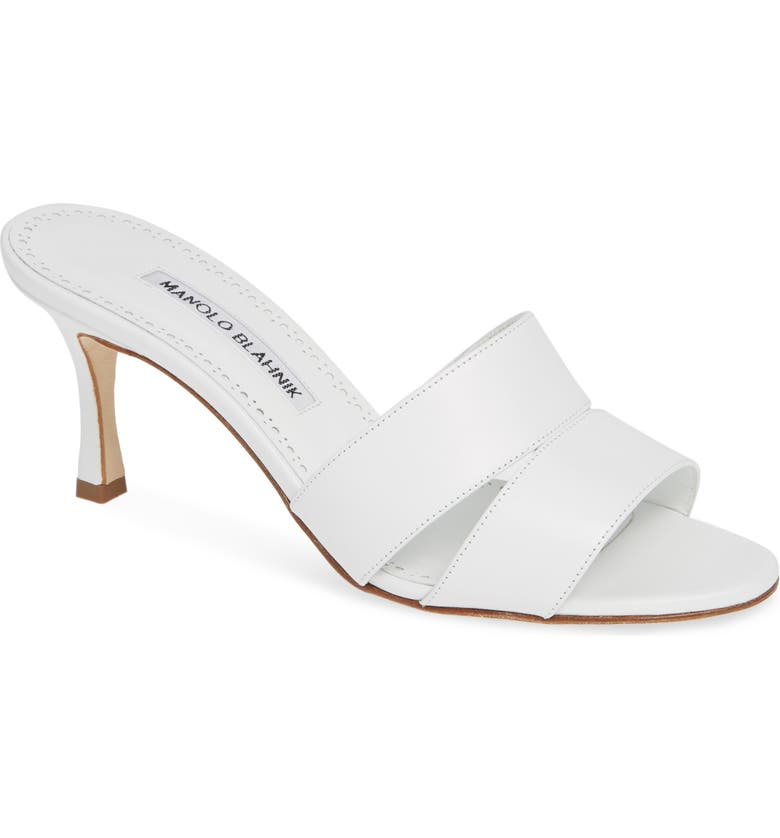 MANOLO BLAHNIK Iacopo Double Band Sandal, Main, color, WHITE LEATHER