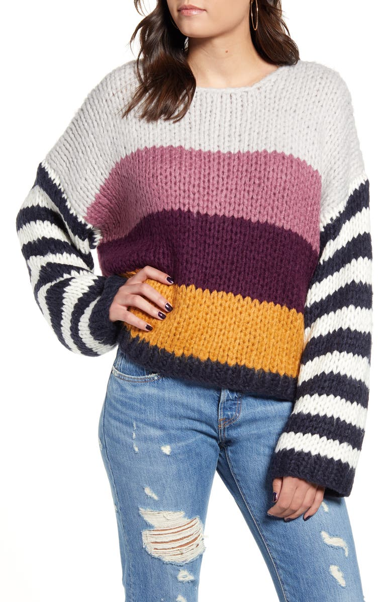 BLANKNYC Stripe Oversize Sweater, Main, color, ON POINT