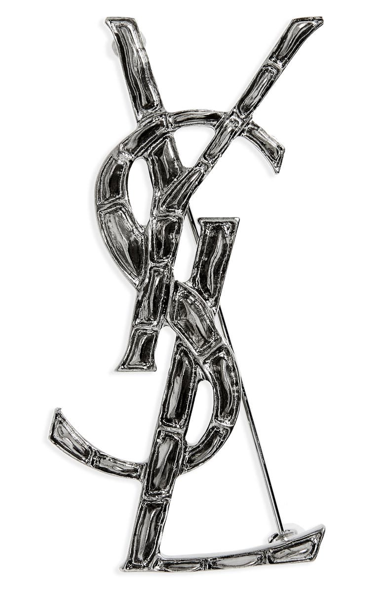 SAINT LAURENT Opyum Lait Branch Monogram Brooch, Main, color, ARGENT OXYDE